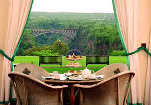 View of the bridge from Victoria falls hotel