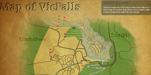Map of Victoria Falls with Lodges