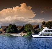 Zambezi River and Lady Livingstone Boat in front of the lodge