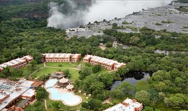 Aerial view of Avani Resort next to the Falls