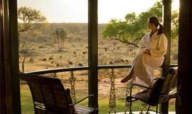 View from the room at at The Stanley and Livingstone safari Lodge